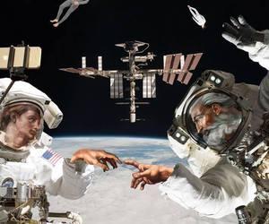 art, astronaut, and god image