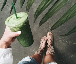 shoes, drink, and green image