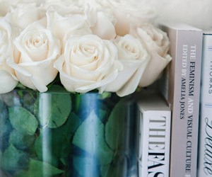 rose, flowers, and books image