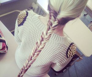 blond, hairstyles, and braid image