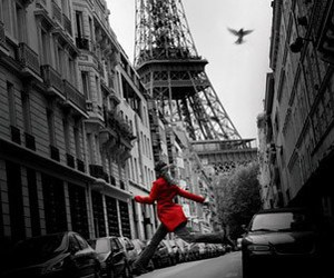 paris, red, and black and white image