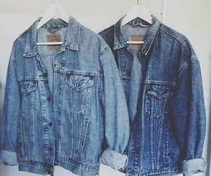 blue, jacket, and jean image