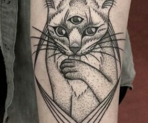 black, cat, and tattoo image