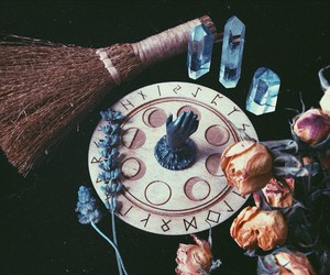 runes, crystals, and moon image