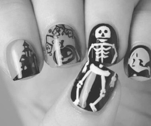 nails, Halloween, and skull image