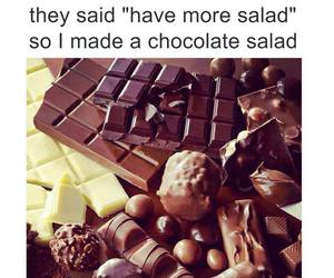 chocolate, funny, and salad image