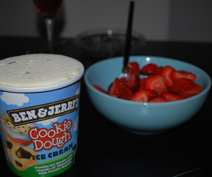 ben and jerrys, icecream, and strawberries image