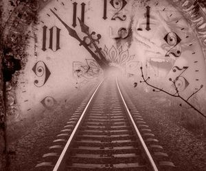 time, clock, and train image