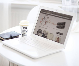 white, coffee, and laptop image