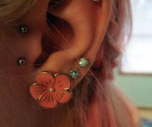 piercing, flowers, and earrings image