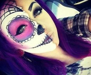 girl, Halloween, and make up image