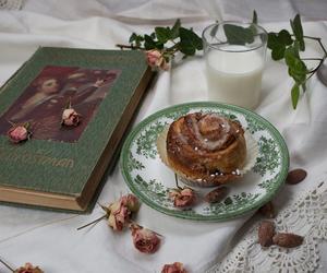 book, cookbook, and cinnamon bun image