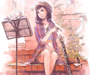 clarinet, girl, and music image
