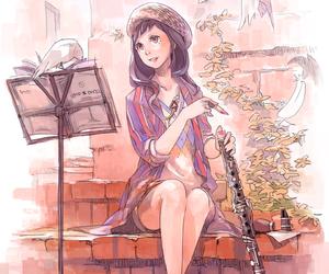 clarinet, girl, and music image