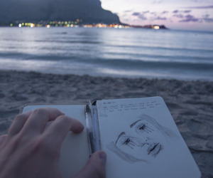 grunge, drawing, and beach image