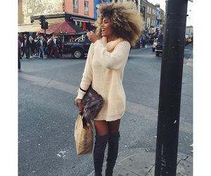 big hair, boots, and dress image