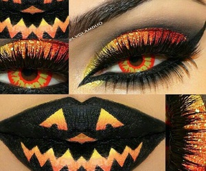 Halloween, orange, and makeup image