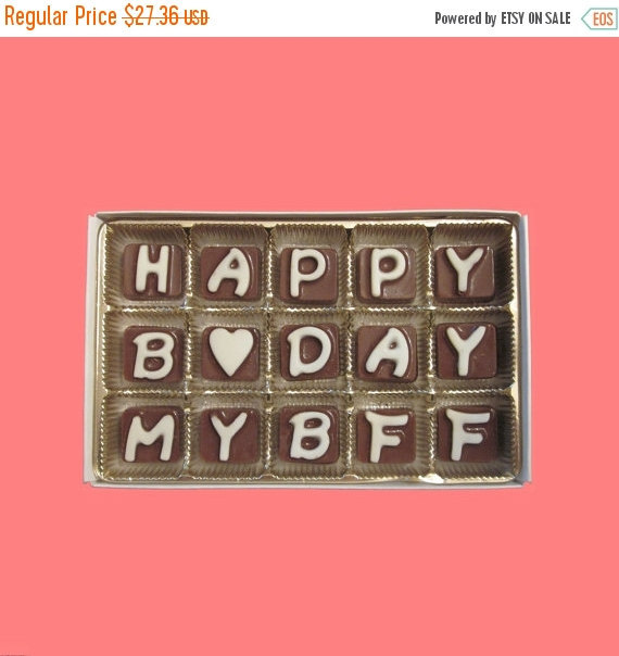 Food Inspiration u203a & Happy B Day My BFF Cubic Chocolate Letters Fun Cuter Birthday Gift ...