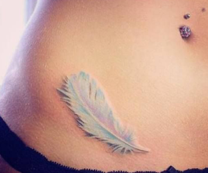 tattoo, feather, and piercing image