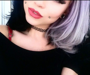 colored hair, dyed hair, and Piercings image