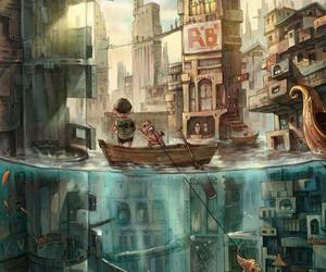 art, anime, and water image