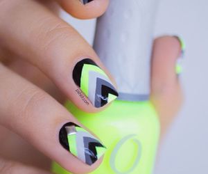 nails, black, and neon image