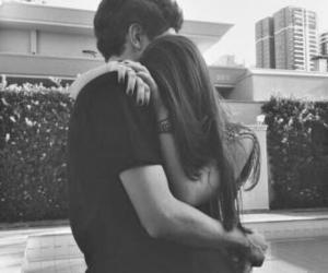blackandwhite, hug, and couple image