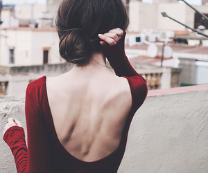 girl, red, and back image