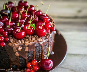 cake, cherry, and chocolate image