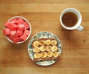 breakfast, banana, and tea image