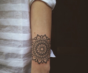 tattoo, arm, and mandala image