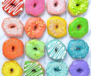 donuts, food, and rainbow image
