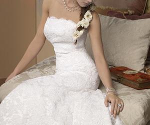 dress, wedding dress, and bride image
