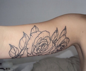 bicep, outline, and roses image