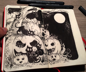 drawing, pumpkin, and Halloween image