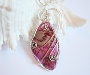 pendant, wire wrapped, and pink image