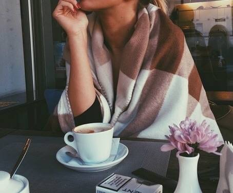 coffee, girl, and morning image