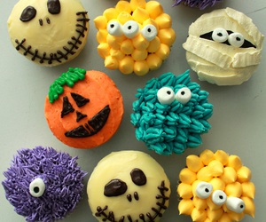 food, Halloween, and cupcake image
