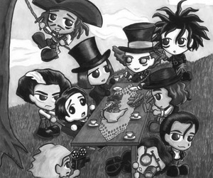 black and white, jack sparrow, and Willy Wonka image