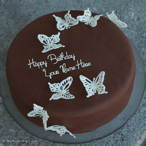 Astonishing Write Your Name On Chocolate Butterflies Birthday Cake Picture Funny Birthday Cards Online Bapapcheapnameinfo