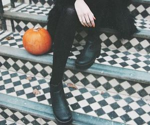 autumn, fashion, and pumkin image