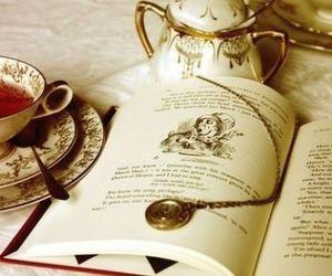 book, tea, and alice in wonderland image
