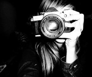 blonde, camera, and black and white image