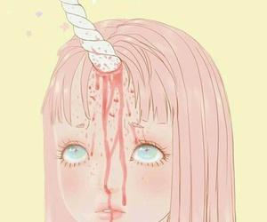 unicorn, pink, and blood image