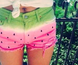 watermelon, summer, and shorts image