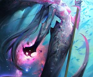 art, fantasy, and mermaid image