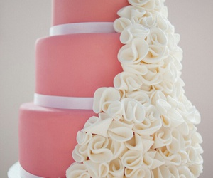 flowers, pink, and wedding cake image