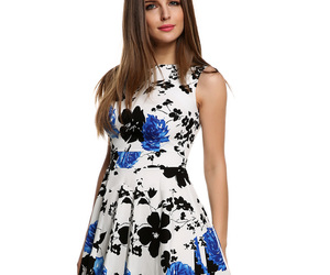 floral dress, party dress, and street fashion image