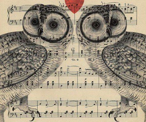 heart, music, and owls image