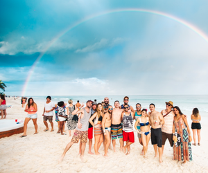 beach, festival, and rainbow image